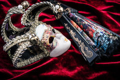 Het masker en de ventilator van Carnaval Stock Foto