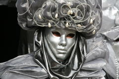 Het masker van Carnaval: zilveren dicht Stock Fotografie