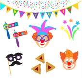 Het masker van 2019 Clownskarakters, de Gelukkige Purim-geplaatste pictogrammen van Carnaval van de Festival Joodse Vakantie vector illustratie