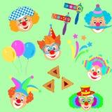 Het masker van 2019 Clownskarakters, Gelukkig Purim-de pictogrammenpatroon van Carnaval van de Festival Joods Vakantie royalty-vrije illustratie