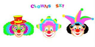Het masker van 2019 Clownskarakters, Gelukkig Purim-de pictogrammenpatroon van Carnaval van de Festival Joods Vakantie vector illustratie