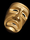 Het masker van de tragedie op zwarte achtergrond Royalty-vrije Stock Afbeeldingen