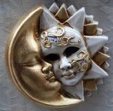 Het masker van de zon en van de maan Stock Foto's