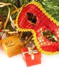 Het masker van het nieuwjaar tegen bont-boom takken Royalty-vrije Stock Foto