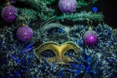 Het masker van het nieuwjaar tegen bont-boom takken met kegels Stock Afbeeldingen