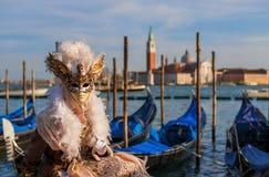 Het Masker van Venetië Carnaval met St George stock foto's