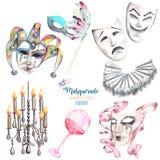 Het maskeradethema plaatste met maskers in Venetiaanse stijl, theatermaskers en elementen van Carnaval royalty-vrije illustratie
