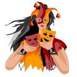 Het maskerholding van de meisjesclown in zijn handen twee maskers royalty-vrije illustratie