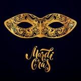 Het maskerillustratie van Mardigras Vector gouden type bij donkerblauwe achtergrond Het ontwerp van de maskeradeuitnodiging Royalty-vrije Stock Foto