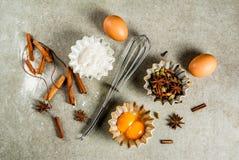 Het materiaal en de ingrediënten van het Kerstmisbaksel Royalty-vrije Stock Fotografie