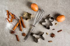 Het materiaal en de ingrediënten van het Kerstmisbaksel Royalty-vrije Stock Foto