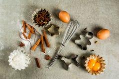Het materiaal en de ingrediënten van het Kerstmisbaksel Royalty-vrije Stock Afbeelding