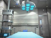 het materiaal en de medische hulpmiddelen in moderne werkende 3d ruimte geven terug Stock Foto