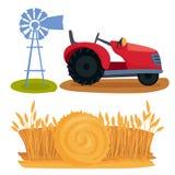 Het materiaal van de de aardagronomie van de landbouwbedrijf het vectorillustratie het oogsten gecultiveerde ontwerp van de korre stock illustratie