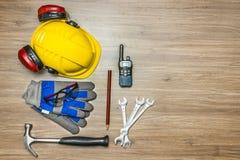 Het materiaal van de arbeidersveiligheid Stock Foto