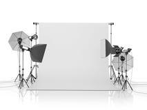 Het materiaal van de fotostudio op een witte bacground Stock Afbeeldingen