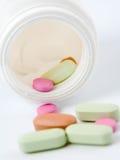 Het materiaal van de geneeskunde. Pillen Stock Foto