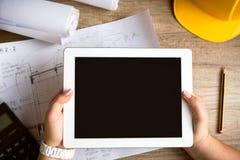 Het materiaal van de tabletarchitectuur Stock Foto's