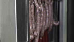 Het materiaal van de vleesfabriek Mannelijke arbeider het sluiten refrigeratior met dienblad van worsten stock footage