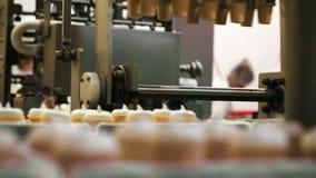 Het materiaal van de voedselfabriek op het werk stock videobeelden