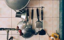 Het materiaal van het keukenhuishouden in keuken royalty-vrije stock fotografie