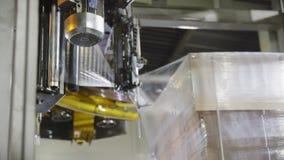 Het materiaal verpakt gevouwen kartondozen zich bij installatie op te stapelen stock footage