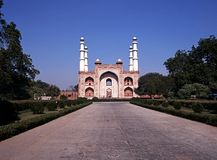 Het Mausoleum van Akbars, Sikandra, India. Stock Foto
