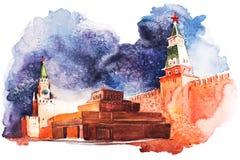 Het Mausoleum van Lenin in Moskou op de Rode Vierkante Waterverf van Rusland vector illustratie