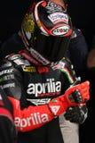 Het maximum Rennende Team van Biaggi Aprilia RSV4 Aprilia Royalty-vrije Stock Afbeeldingen