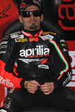 Het maximum Rennende Team van Biaggi Aprilia RSV4 Aprilia Stock Foto's