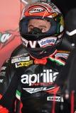 Het maximum Rennende Team van Biaggi Aprilia RSV4 Aprilia Royalty-vrije Stock Foto's