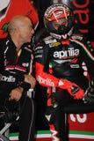 Het maximum Rennende Team van Biaggi Aprilia RSV4 Aprilia Royalty-vrije Stock Afbeelding