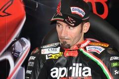 Het maximum Rennende Team van Biaggi Aprilia RSV4 Aprilia Stock Foto