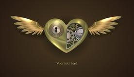 Het mechanische hart van het liefdemetaal Stock Fotografie