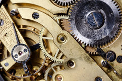 Het mechanisme van een oud horloge Stock Foto's