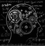 Het mechanisme van het menselijke denken Het wordt afgeschilderd in de vorm van een klokmechanisme met binnen gevestigde toestell vector illustratie