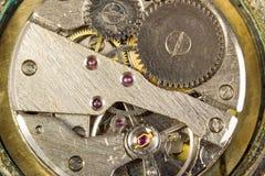 Het mechanisme van uren sluit omhoog Stock Afbeelding