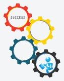 Het Mechanisme van zakenmanrunning gears clockwork Stock Foto
