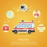 Het medische concept van de noodsituatieziekenwagen Stock Afbeelding