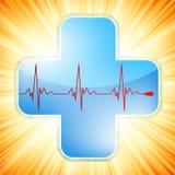 Het medische kruis van het hart. EPS 8 Stock Foto