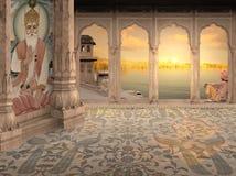Het mediteren in een paleis Stock Foto