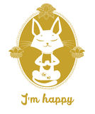 Het mediteren van Cat Vector Leuke Cat And Message ben ik Gelukkig Stock Fotografie