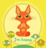 Het mediteren van Cat Vector Yoga Cat Vector Leuke Rode Cat And Message ben ik Happy Royalty-vrije Stock Afbeeldingen