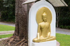Het mediteren van de gouden gouden Boedha bas-hulp van Boedha Stock Afbeeldingen