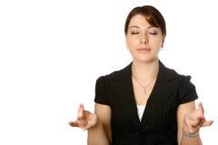 Het mediteren van de onderneemster Stock Foto