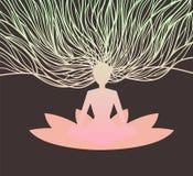 Het mediteren van Mens op Lotus Royalty-vrije Stock Afbeelding