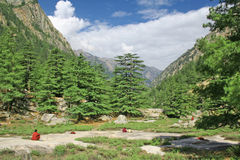 Het mediteren van Sannyasins binnen zazen in himalayan bergketens royalty-vrije stock foto's