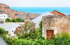 Het mediterrane panorama van Griekenland Stock Foto