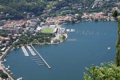 Het Meer Como van de stad van Como Stock Foto's