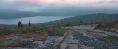 Het Meer Dawn, Acadia van de adelaar stock foto